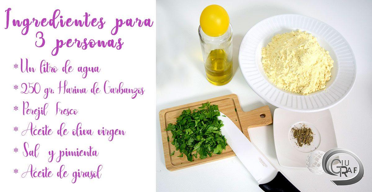 ingredientes CÓMO HACER TORTITAS DE GARBANZOS FRITAS Panelle de Sicilia