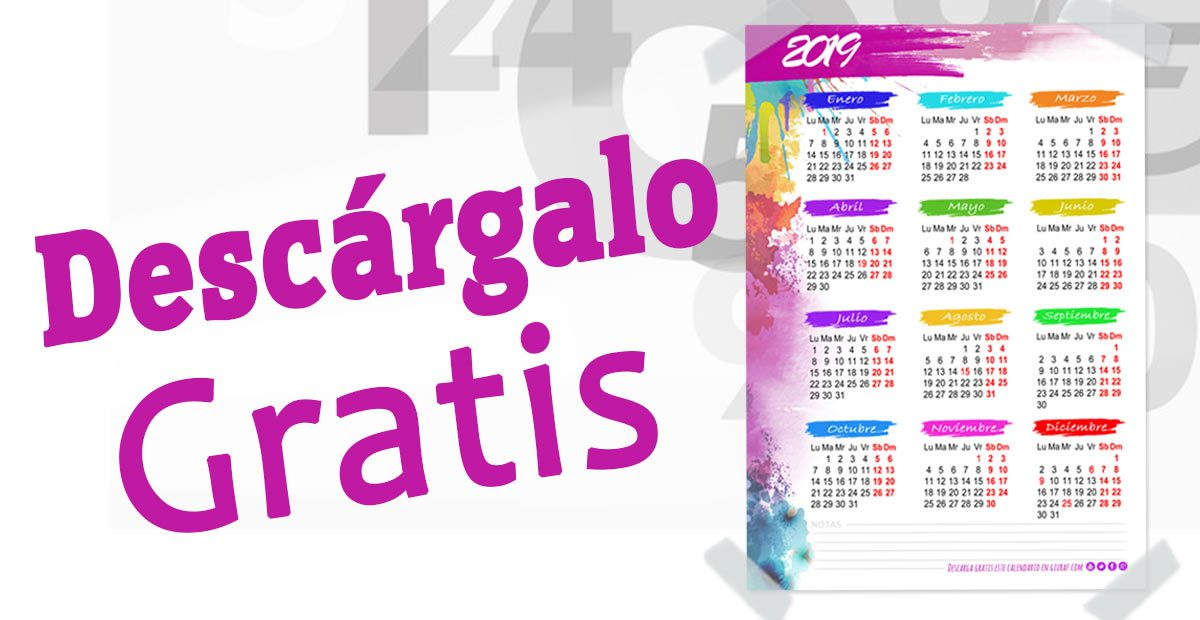 CALENDARIO 2019 DE PARED GRATIS PARA IMPRIMIR A4