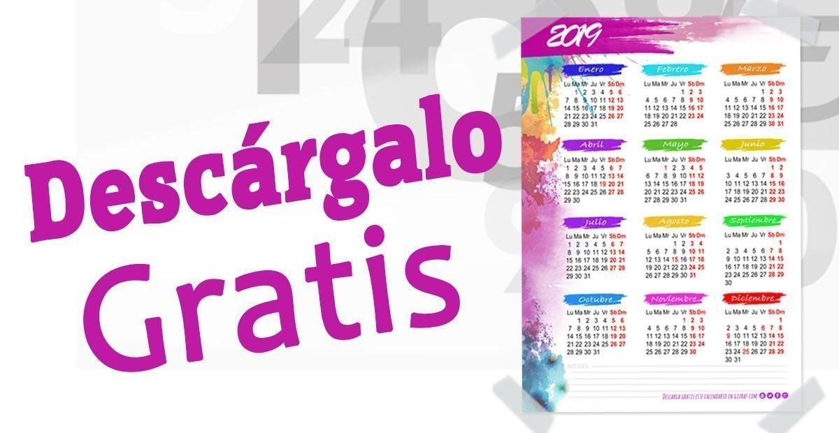 CALENDARIO 2019 DE PARED GRATIS PARA IMPRIMIR A4