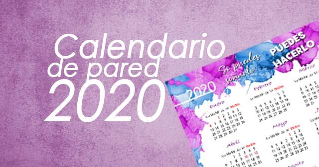 CALENDARIO 2020 DE PARED A4 para descargar e imprimir