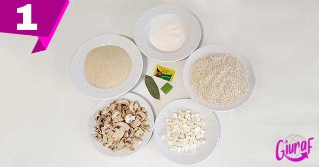 Ingredientes comida italiana croquetas de arroz con champiñones y queso mozzarella