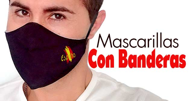 Mascarillas con la Bandera de España y otros Países (diseño minimalista)