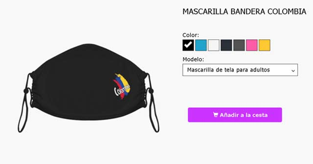 Mascarillas personalizables bandera colombia