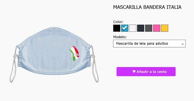Mascarillas de tela con la bandera de Italia