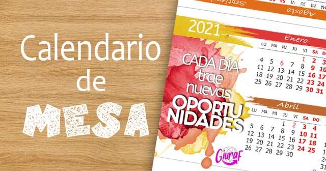 Calendario 2021 de mesa y escritorio gratis para imprimir